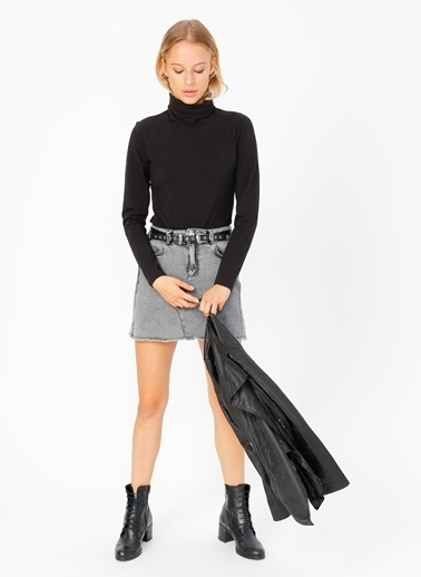 Limon Company Limon Balıkçı Yaka Siyah Kadın T-Shirt Siyah